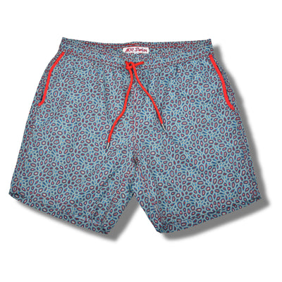 Red and Blue Polygon Swim Trunks