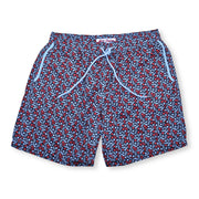 Leaves Elastic Waist Swim Trunks - Black
