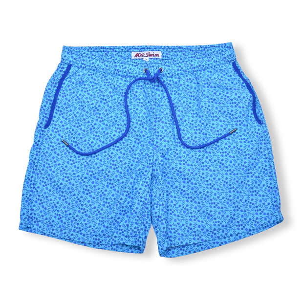 Leaves Elastic Waist Swim Trunks - Blue