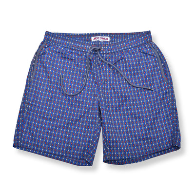 Chain Link Elastic Waist Swim Trunks - Royal Blue