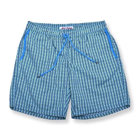 Chain Link Elastic Waist Swim Trunks - Blue