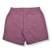 Chain Link Elastic Waist Swim Trunks - Red