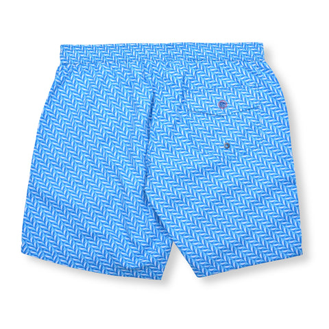 Mod Herringbone Elastic Waist Swim Trunks - Blue