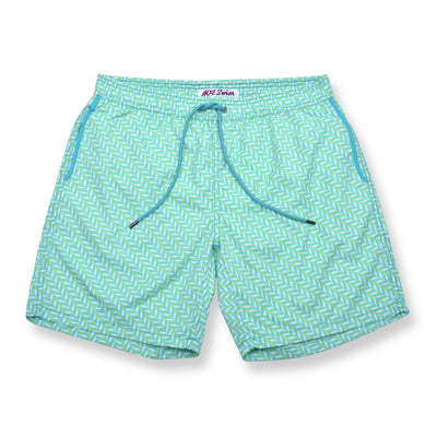 Mod Herringbone Elastic Waist Swim Trunks - Green