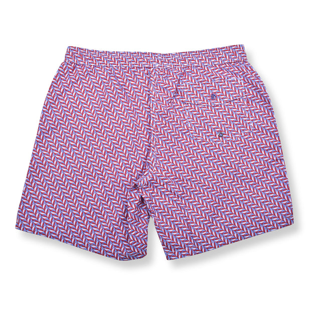 Mod Herringbone Elastic Waist Swim Trunks - Red