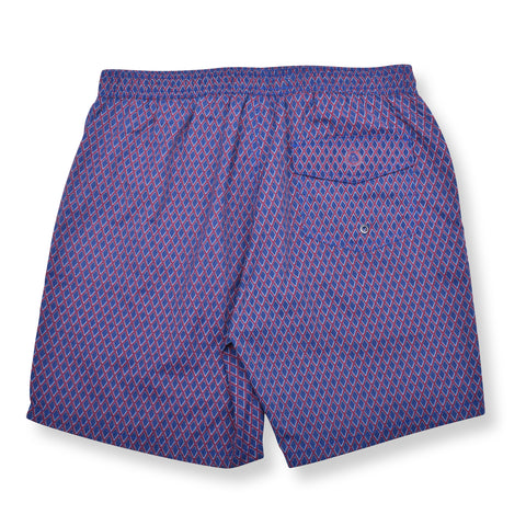 Diamond Wave Elastic Waist Swim Trunks - Navy Blue
