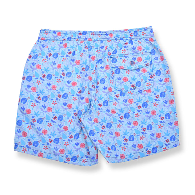 Floral Elastic Waist Swim Trunks - Light Blue