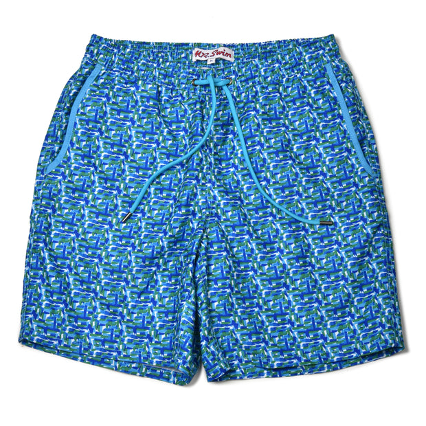 Paint Splash Elastic Waist Swim Trunks - Blue/Green