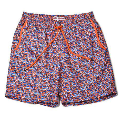 Paint Splash Elastic Waist Swim Trunks - Orange/Blue