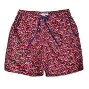 Paint Splash Elastic Waist Swim Trunks - Red/Orange