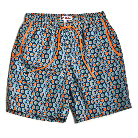 Geodes Elastic Waist Swim Trunks - Blue/Orange