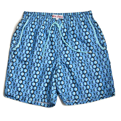 Geodes Elastic Waist Swim Trunks - Blue/Blue