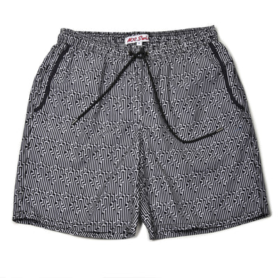Staircase Elastic Swim Trunks - Black/White