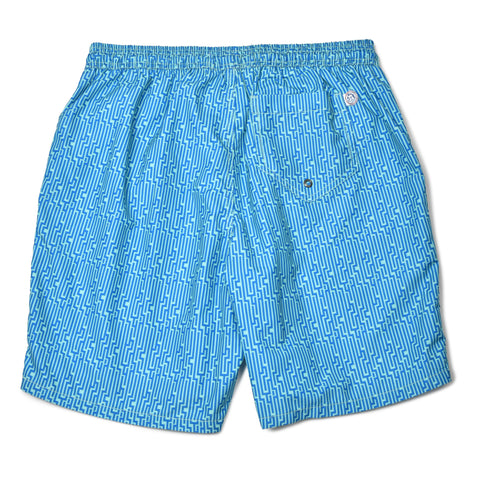 Staircase Elastic Waist Swim Trunks - Blue/Blue
