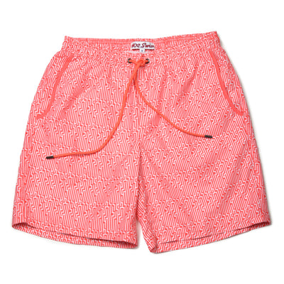 Staircase Elastic Waist Swim Trunks - Pink/White