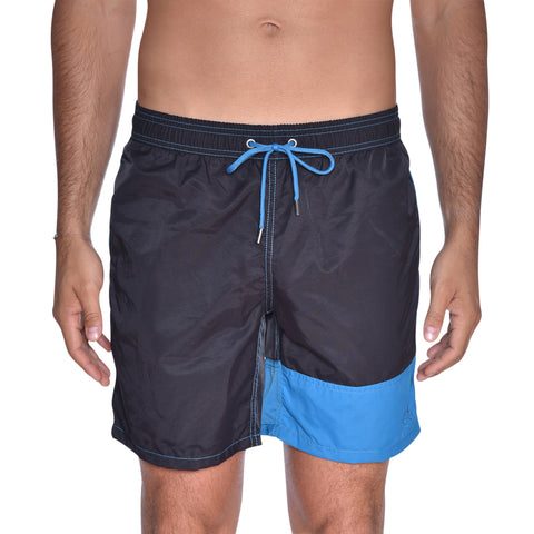 Color Block Solid Swim Trunks - Black / Midnight Blue