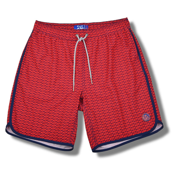 Bright Red Dolphin 4-Way Stretch Swim Trunks