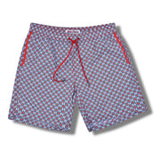 Geometric Elastic Waist Swim Trunks in Red and Grey