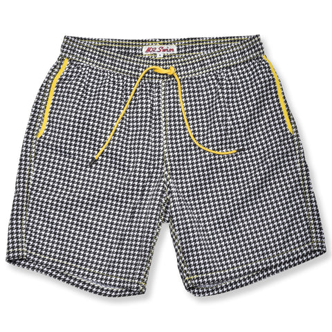 Houndstooth Elastic Waist Swim Trunks - Black