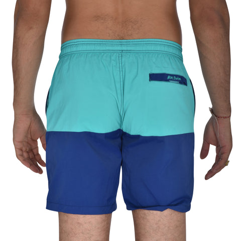 Color Block Solid Swim Trunks - Aqua / Blue