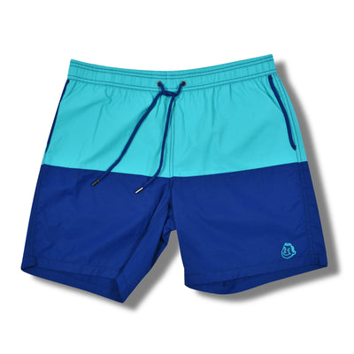 ColorBlock Solid Swim Trunks - Aqua / Blue