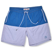 Color Block Solid Swim Trunks - Ocean / Lavender