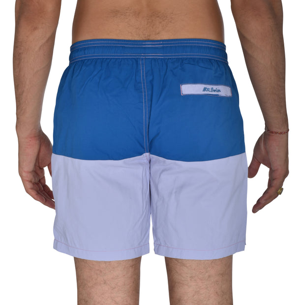 ColorBlock Solid Swim Trunks - Ocean / Lavender