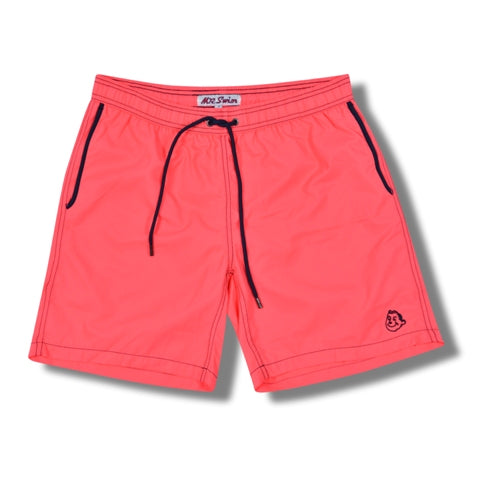 Electric Red Solid Swim Trunks