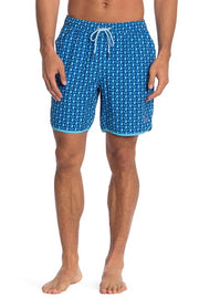 Blue / Green Tulips 4-Way Stretch Swim Trunks