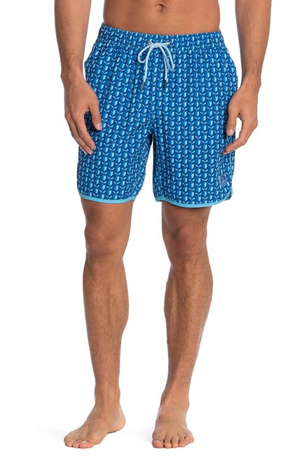Tulips 4-Way Stretch Swim Trunks - Blue / Green