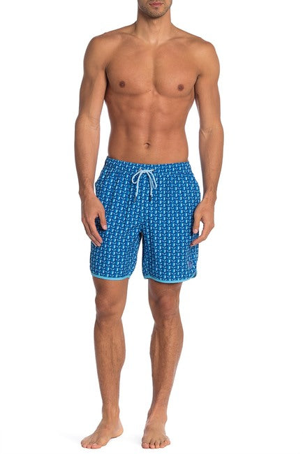 Navy / Blue Tulips Swim Trunks