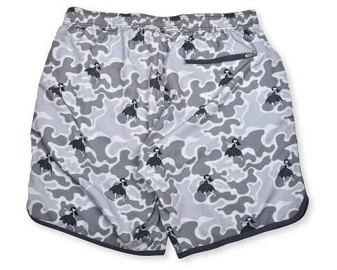 Hula Camo 4-Way Stretch Swim Trunks - Grey