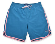 Solid Retro Stripe 4-Way Stretch Swim Trunks - Ocean Blue