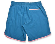 Retro Stripe 4-Way Stretch Swim Trunks - Ocean Blue