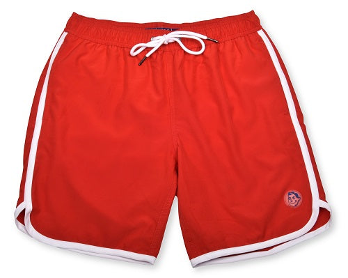 Solid Retro Stripe 4-Way Stretch Swim Trunks - Red