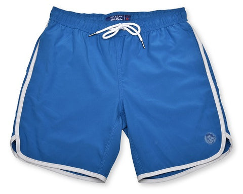 Royal Blue Retro Stripe 4-Way Stretch Swim Trunks