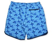 Light Blue Splash 4-Way Stretch Swim Trunks