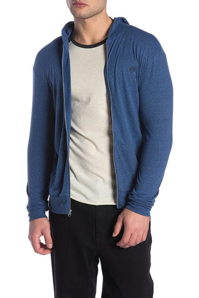 Tri-Blend Jersey Zipper Hoodie - Royal and Black