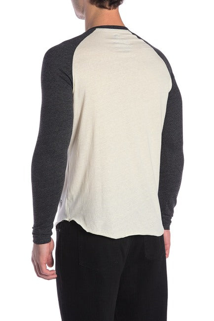 Cream and Black Henley Baseball Tee
