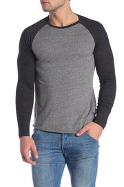Grey and Black Henley Baseball Tee