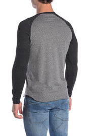 Henley Baseball Tee - Grey and Black