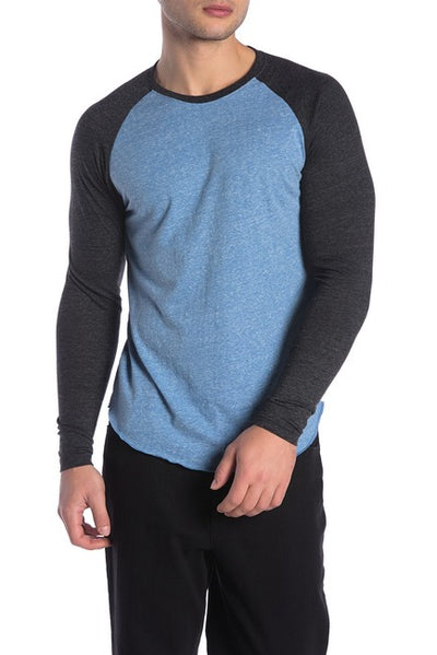 Royal Blue and Black Henley Baseball Tee