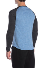 Henley Baseball Tee - Royal Blue and Black