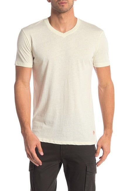 Cream Tri-Blend V-Neck Tee