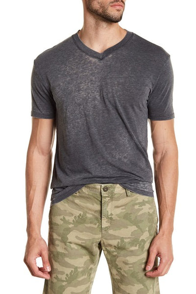 Burnout V-neck Tee - Charcoal