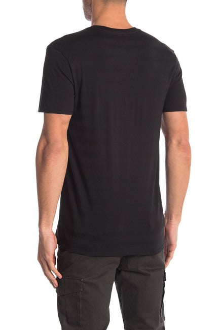 Invisible Stripe Crew Neck Tee - Black on Black