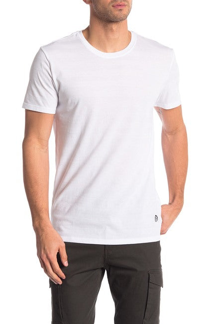 Invisible Stripe Crew Neck Tee - White on White