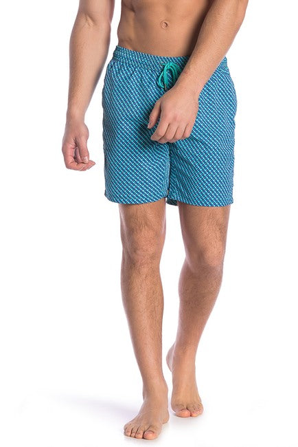 Turquoise / Blue Boxes Swim Trunks