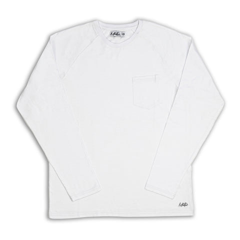 Long-Sleeve Pocket Tee, White