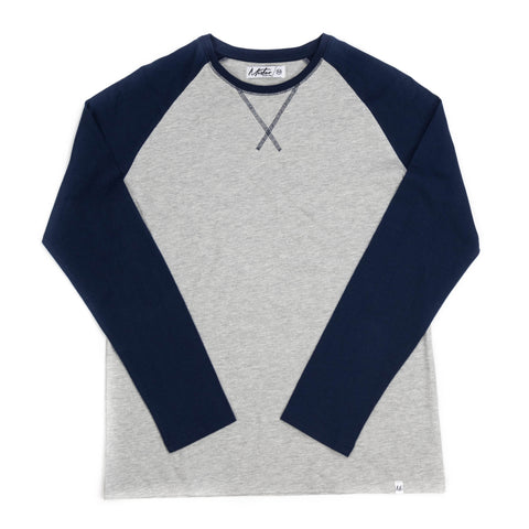 Raglan Tee, Grey / Navy